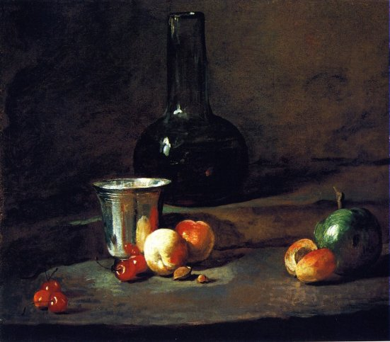 Jean-Baptiste-Simeon-Chardin-xx-Carafe-of-Wine-Silver-Goblet-Five-Cherries-Two-Peaches-an-Apricot-and-a-Green-Apple-xx-St-Louis-Art-Museum