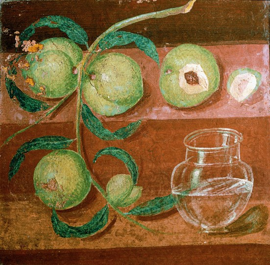 roman fresco still life with peaches