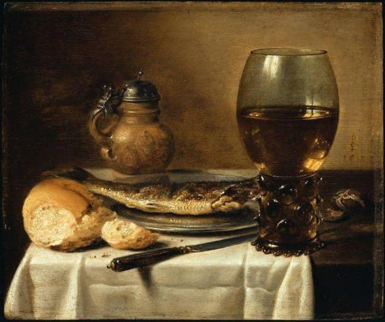 Claesz, Still Life with Stoneware Jug, Wine Glass, Herring & Bread