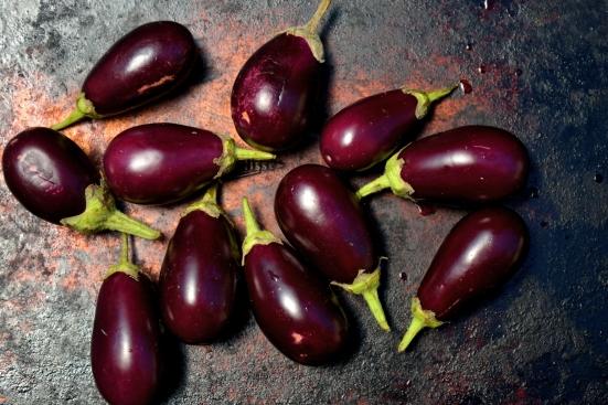 Салат из самых маленьких баклажанов