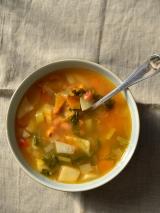 Зимний суп из фасоли совощами
