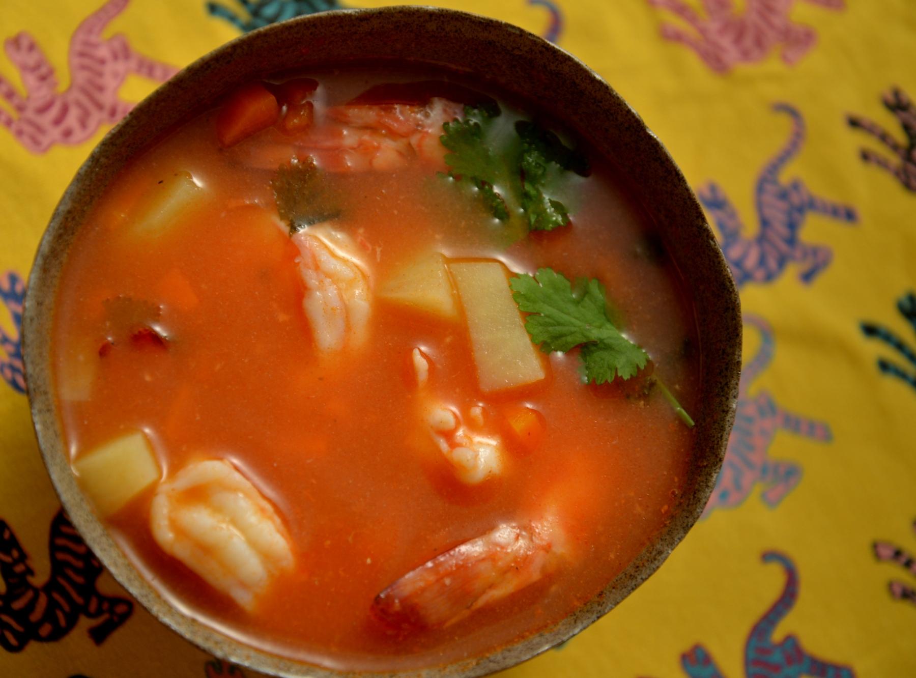 Мексиканский суп из креветок ко дню Святого Валентина